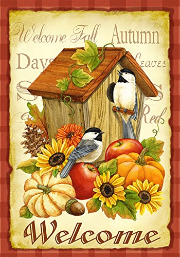 UPC 017917012699, Toland - Autumn Birds - Decorative Welcome Fall Birdhouse Pumpkin Flower USA-Produced House Flag