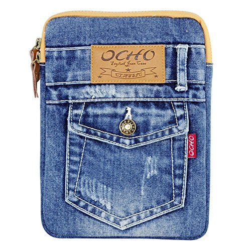 Universal Case for 7 8 inch Tablet Stone Washed Jean Denim Style Sleeve for iPad mini 2 4, Nexus 7 and more