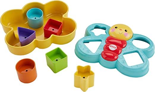 Fisher-Price Butterfly Shape Sorter, Six chunky, colorful shapes to sort – and help baby's fine motor skills take flight