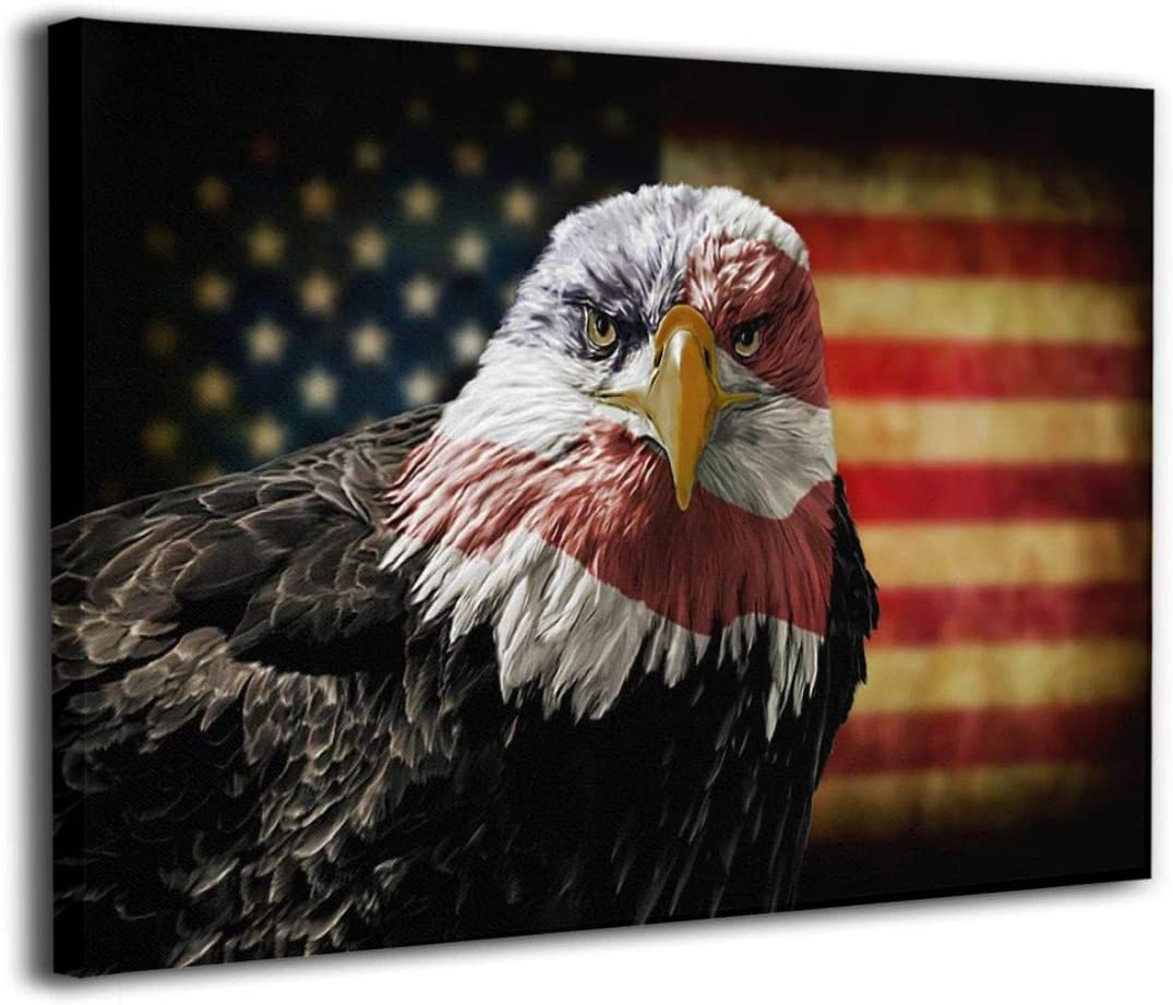 Cool American Bald Eagle USA Flag Canvas Painting Inspirational Wall Art Patriotic Concept Picture Office Living Room Military Print Decor Ready to Hang 12''x16 ''