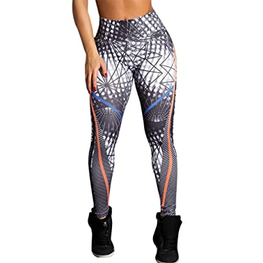 246809ffc5 Casual Womens Angel Wing Feather Printed Yoga Skinny Workout Gym Leggings