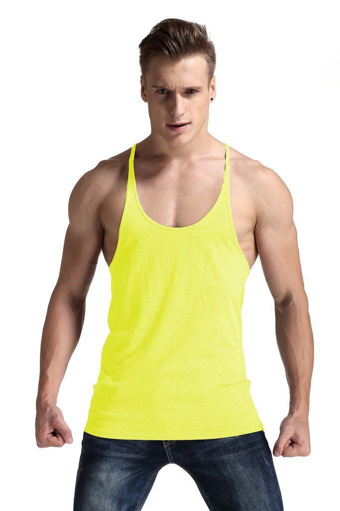 YAKER Men's Fitness Gym Tank Top Singlet Bodybuilding Stringers Sleeveless Muscle Shirt (S, Yellow)