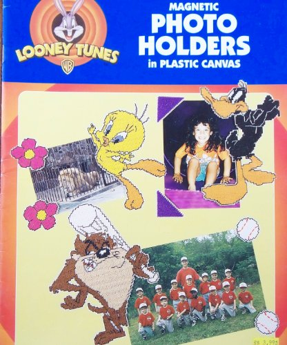 OOP Looney Tunes Plastic Canvas Pattern Leaflet. 14 Magnetic Photo Holder Designs with Tweety; Taz; Daffy Duck; Pepe Le Pew; Bugs Bunny; Marvin the Martian; Sylvester; Wile E. Coyote; Road Runner; Bugs & Lola; Tazmanian Devil Bunny Needlepoint