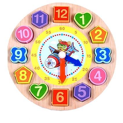 hunpta Cartoon Animal juguetes educativos para niños de madera cuentas Digital reloj, D