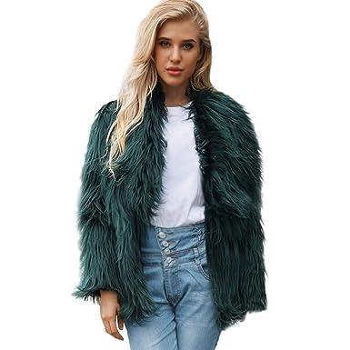 75b37652e0 Womens Warm Faux Fur Lapel Collar Coat Jacket Ladies Winter Solid Color  Parka Large Outerwear Cardigan: Amazon.co.uk: Clothing