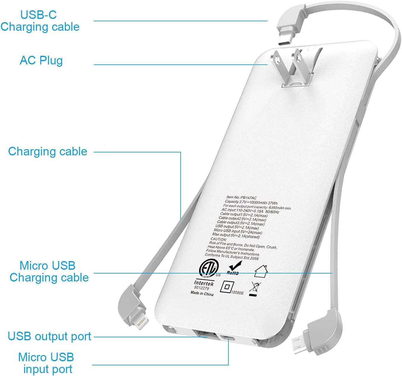 10000mAh Q Portable Charger, Ultra Slim USB C Power Bank, 4 Output Dual...