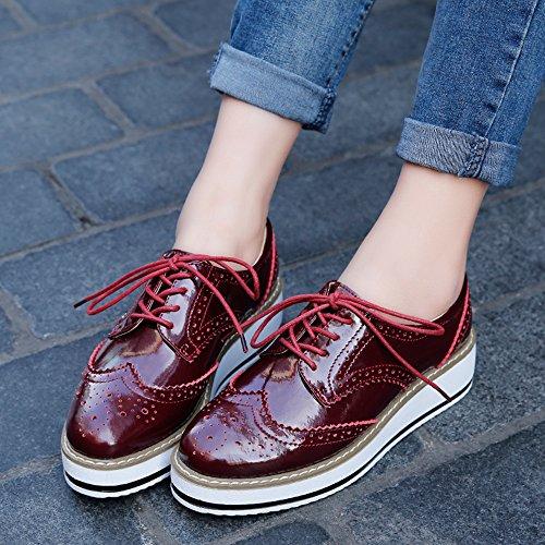 Zapatos Mujer Blanco Brogue CM Plataforma Talón Negro de para 5 4 Rojo Vino Vestir Cordones qrwxpCXgSr
