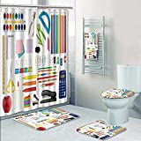 PRUNUSHOME Designer Bath Polyester 5-Piece Bathroom Set, school supplies on white background Print bathroom rugs shower curtain/rings and Both Towels(Small)