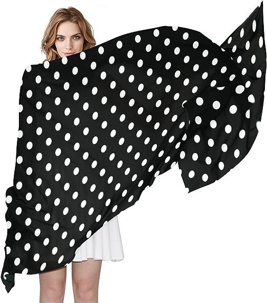 Fashion Black White Lady Girl Soft Dots Print Chiffon Scarf Wraps Shawl Scarves