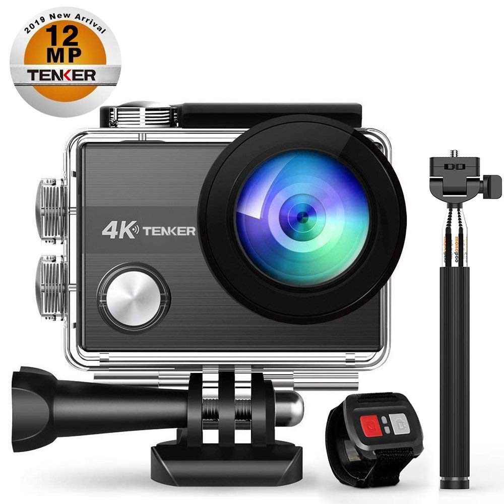 TENKER 4K Action Camera, WiFi 12MP Waterproof Sport Camera 170 Degree Wide View Angle 2.4G Remote Control 2 Rechargeable Underwater Cam Batteries and Kit of Accessories by TENKER