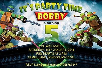 10 x personalizado de las Tortugas Ninja niños fiesta de ...