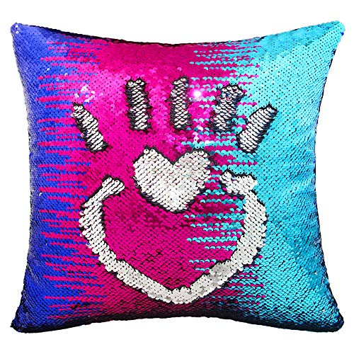 MHJY Mermaid Sequin Pillow with Insert, 16x16Reversible Sequin Pillows Magic Color Changing Throw Pillow for Home Decor (Royal Blue & Fuchsia & Light Blue/Silver)