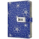 GardenHelper A5 Size PU Leather Password Lock Diary, Floral Password Notebook Student Stationery Record Book Business Office Notepad (Blue)