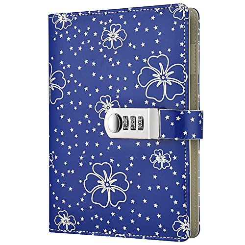 GardenHelper A5 Size PU Leather Password Lock Diary, Floral Password Notebook Student Stationery Record Book Business Office Notepad (Blue) by GardenHelper