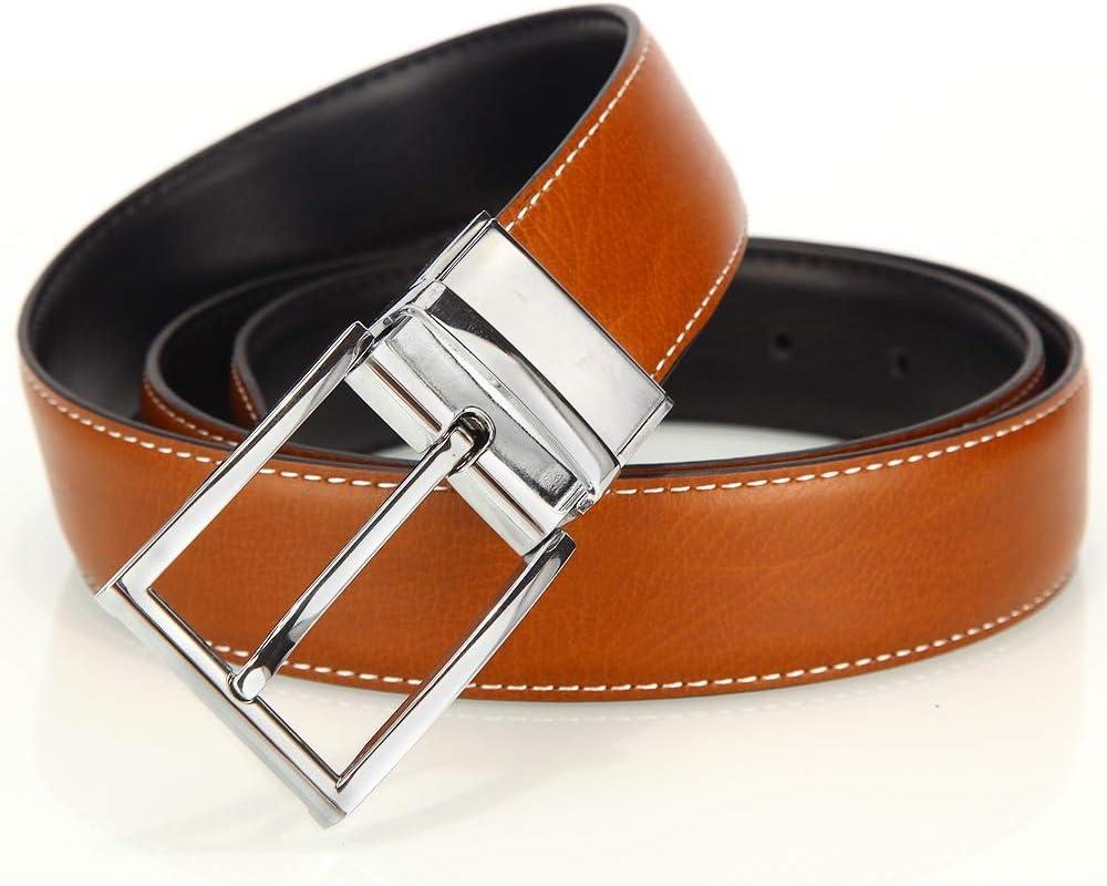 Size : L Crystalzhong-MW Mens Leather Strap Waistband Mens Genuine Leather Dress Belt Reversible Belt for Men with Pin Buckle Formal Belt