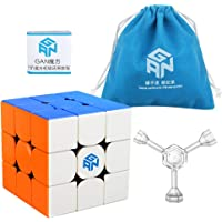 Coogam Gan 356 R 3X3 Speed Cube Gans 356 R 3X3X3 Magic Cube Gan 356R Stickerless Cube Puzzle GES V3 System with Extra Blue Pouch
