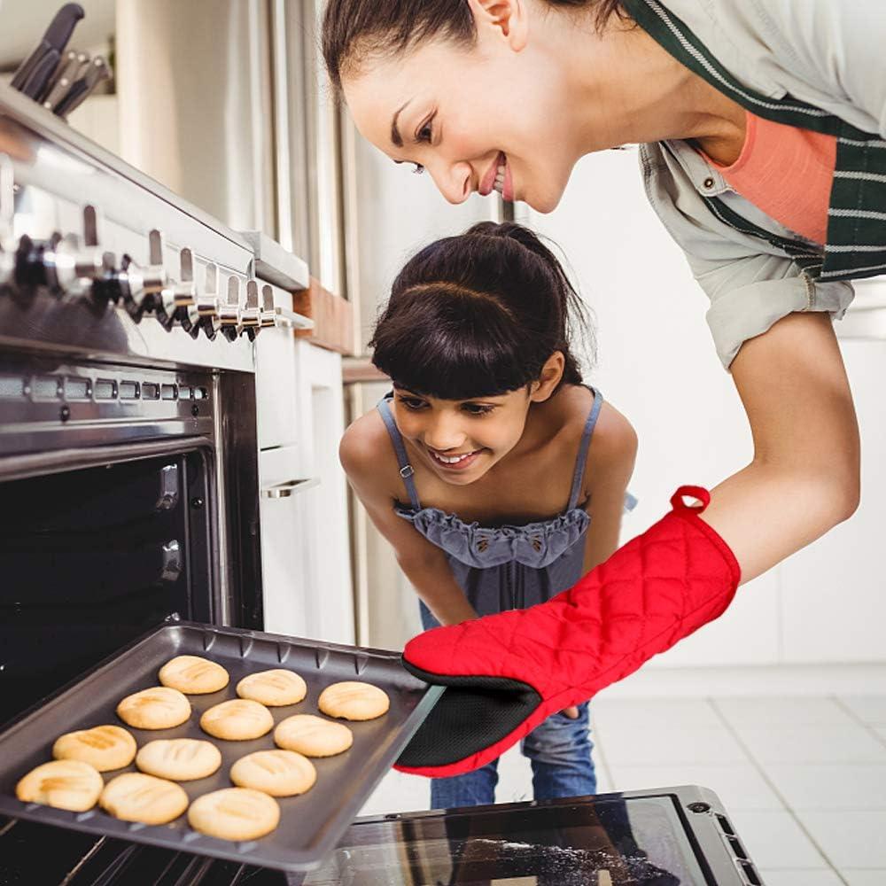 Gants de Four Double Mitaine Four,Caoutchouc Coton Gants de Barbecue Universel Gants de Cuisine R/ésistant /à la Chaleur Long /Épais Doux Oven Gloves Paire pour Cuisine Grillage Cuisson Pizza 500℉ Rouge