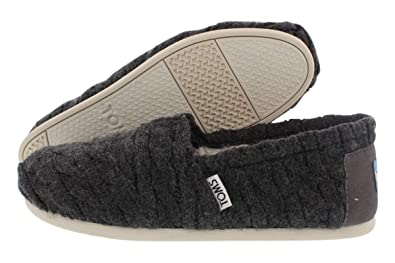 374780ab27cde TOMS Women's Classics Cable Knit with Shearling in Forged Iron Grey, 5