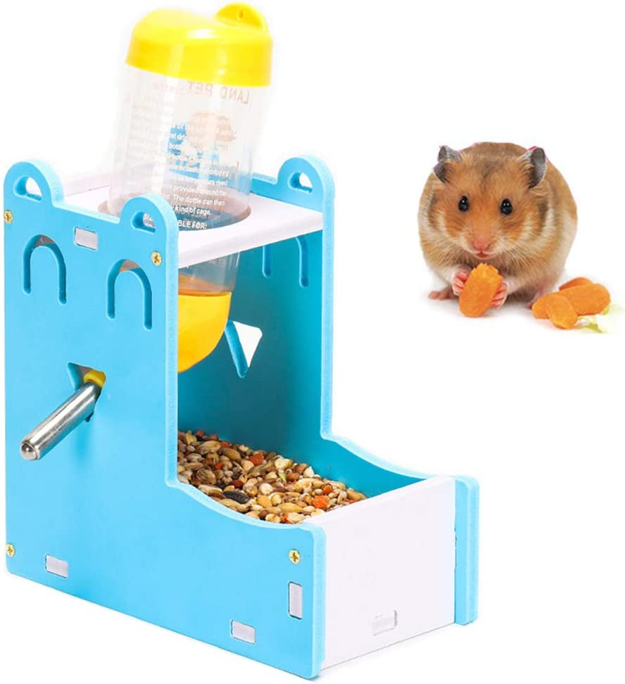 2 in 1 Hamster Hanging Water Bottle Pet Auto Dispenser with Base for Hamster Rat Mouse (125ML)