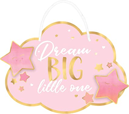 3 Sizes It/'s A Girl Lightweight Metal* Adhesive Mounts Included Baby Shower Wreath Sign