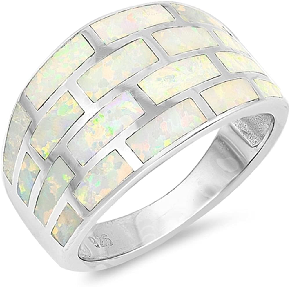 CloseoutWarehouse Blue Simulated Opal Brick Wall Design Ring Sterling Silver
