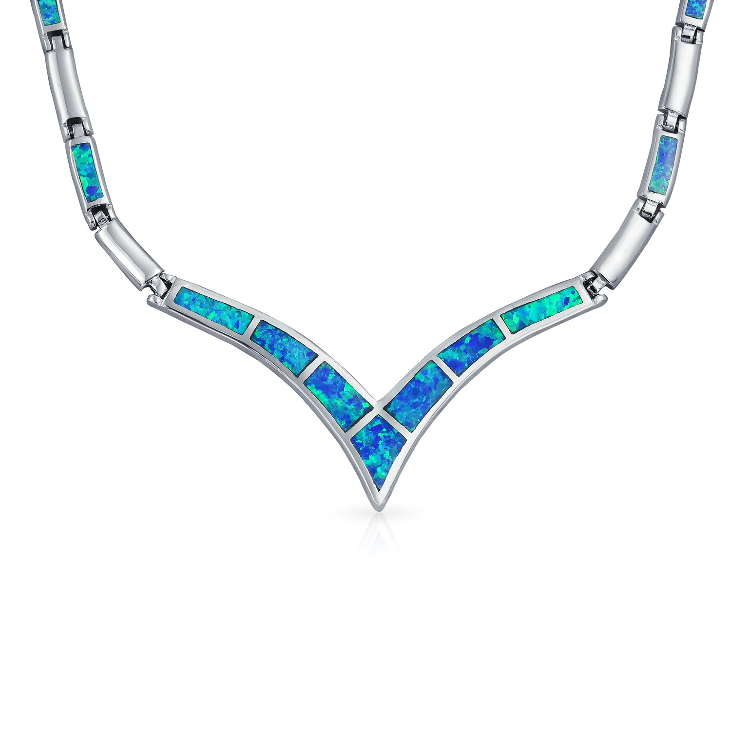 Geometric Blue Created Opal Inlay V Chevron Statement Collar Necklace For Women For Girlfriend 925 Sterling Silver