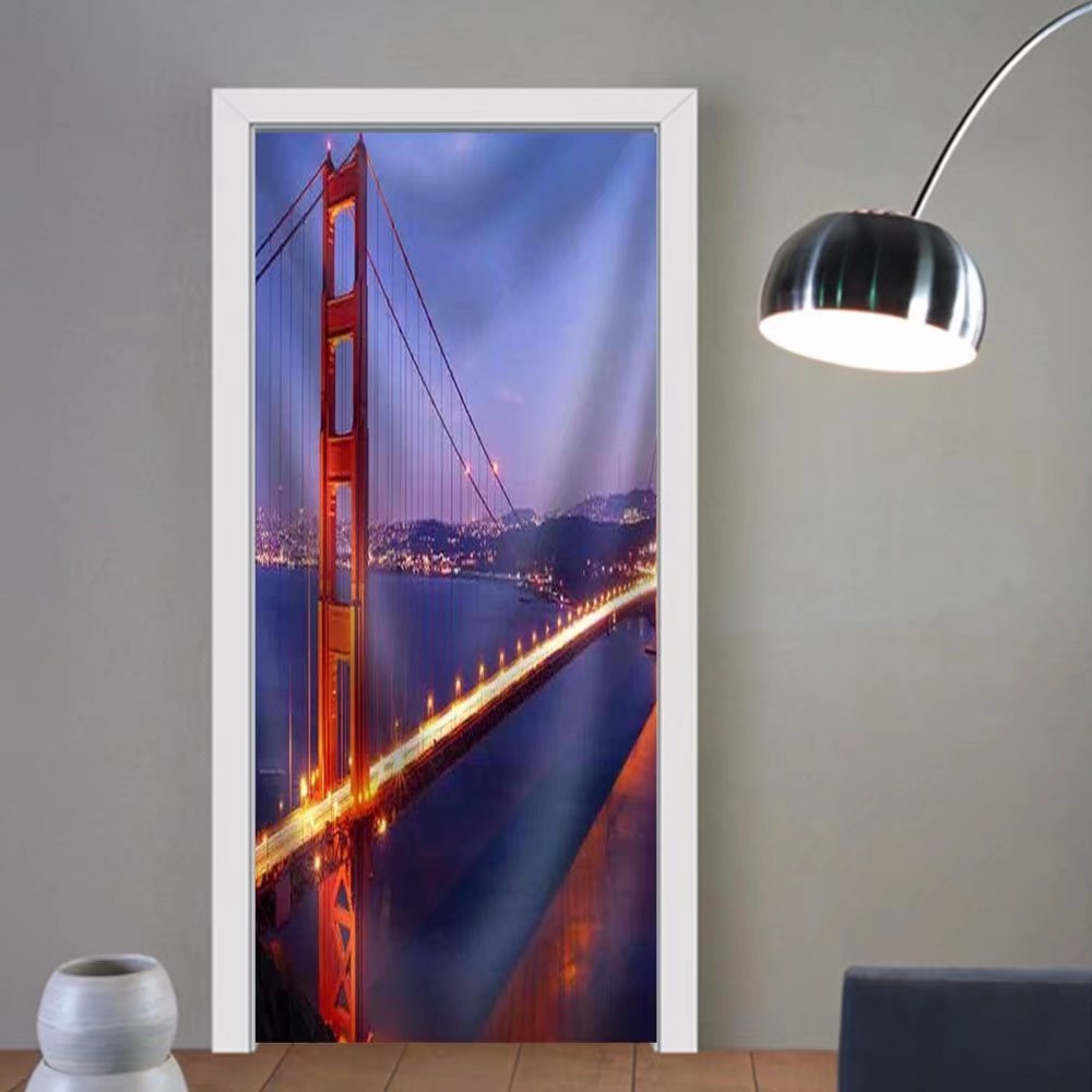 Gzhihine custom made 3d door stickers Golden Gate Bridge at Twilight. San Francisco Usa Fabric Home Decor For Room Decor 30x79