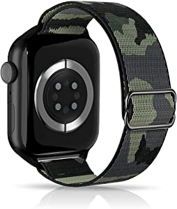 ARCEED Adjustable Stretchy Bands Compatible with Apple Watch Band 38mm 40mm 42mm 44mm,Women Men Elastic Sport Solo Loop Nylon Wristbands for iWatch Series SE/6/5/4/3/2/1(Woodland Camouflage,38/40mm)