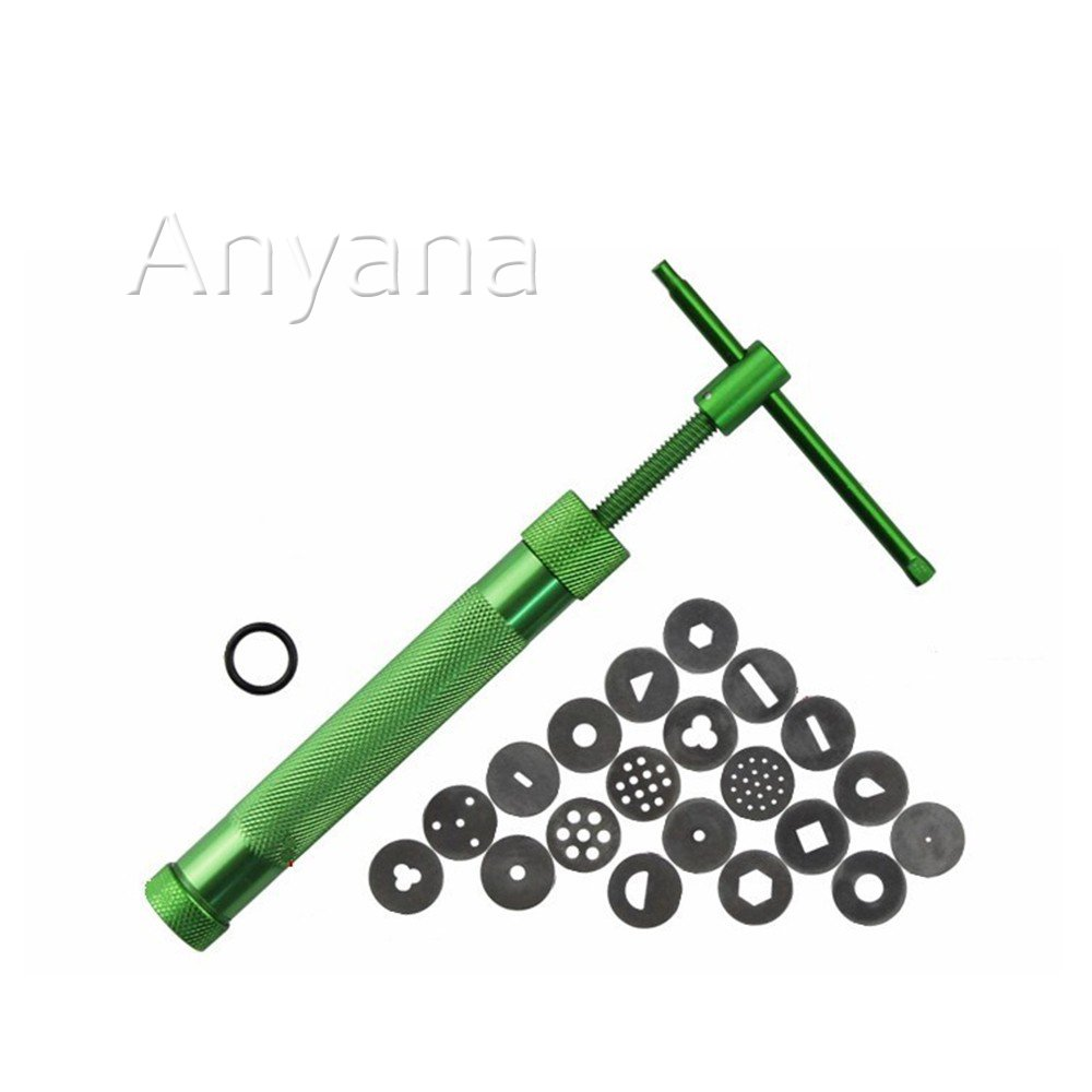 Anyana Alloy Crowded Mud Machine Polymer Clay Extruder Craft Gun Cake Fondant Sculpture Decorating Tool Set, Green+ 20Discs
