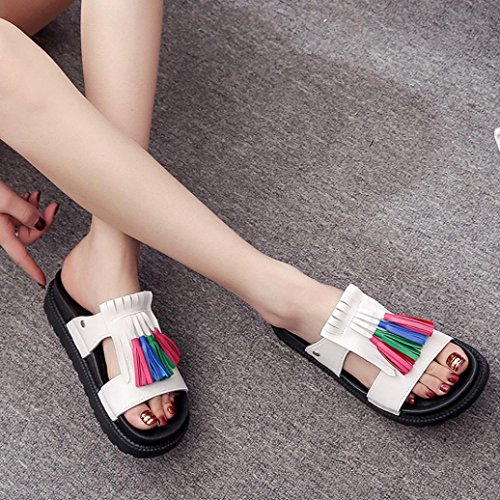 Saingace Frauen Sommer Roman Fringe Sandalen Dicke Sandalen Schuhe Weiß