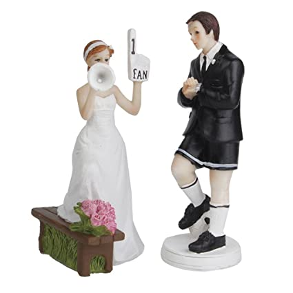 Amazon.com: Soccer Player Fan Groom Cheering Bride Wedding Cake ...