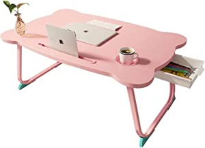 MJUNM Laptop Desk, Lap Desk Bed Table Tray for Eating Writing Foldable Desk with iPad Slots for Adults/Students/Kids, Adjustable Notebook Stand with Drawer, Card Slot and Cup Holder, Pink
