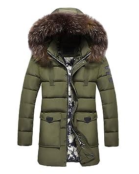 LaoZan Hombres Chaqueta larga Abrigo cálido con Capucha Casual Chaqueta cálida de invierno abrigo anorak 4XL Verde del ejército: Amazon.es: Deportes y aire ...