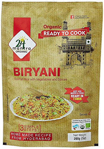 Organic Ready to Cook Biryani, 400 Gm (Pack of 2 X 200 Gm), Serves 8, Ready in 15 Min Briyani - 24 Mantra Organic by 24 MANTRA