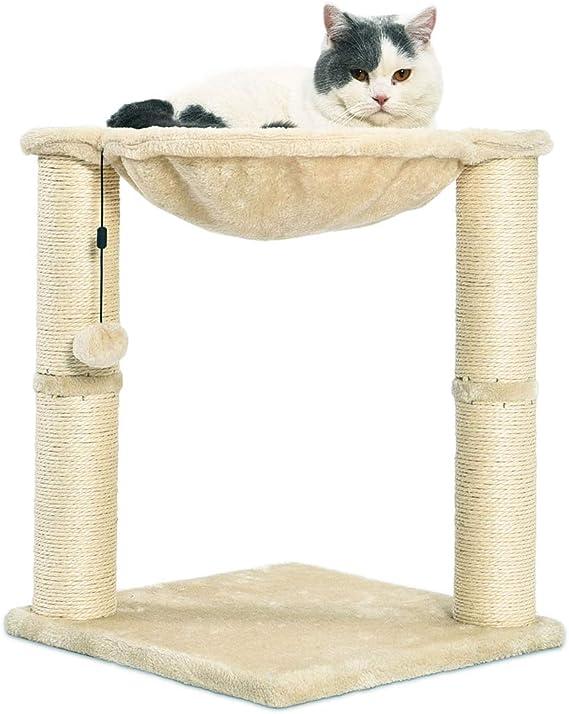 AmazonBasics - Torre en árbol con cerramiento, hamaca, cama y poste rascador para gatos, 40,6x50,8x40,6 cm, beige: Amazon.es: Productos para mascotas