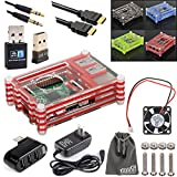 EEEKit 8 in 1 Starter Kit for Raspberry Pi 2/B+, Case Box, Cooling Fan,WiFi LAN Adapter, Bluetooth Dongle, Charger, USB Hub, HDMI Cable, Aux Cable
