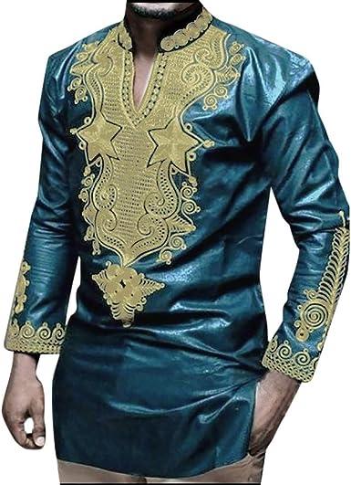 JURTEE Camiseta para Hombre Estilo Africano Cuello En V Impresión Remera Manga Larga Tops Blusa Moda Camisa: Amazon.es: Ropa y accesorios