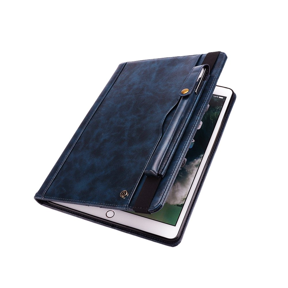 Jennyfly Galaxy Tab S3 9.7 Case, PU Leather Hands-Free Stand Smart Auto Wake/Sleep Function Built-in Pencil Slot & Card Slots Protective Business Cover for Galaxy Tab S3 9.7(SM-T820/SM-T825) - Blue by Jennyfly (Image #4)
