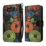 Motorola Droid Mini XT1030 Case, FINCIBO Ultra Slim Protective Carry Flip Canvas Wallet Pouch Case with Credit Card Holder TPU Cover, Vintage Colorful Gears