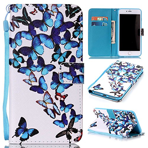 Price comparison product image iPhone 8 Plus Case,  iPhone 7 Plus Phone Case, SAVYOU Wallet Case Stylish Slim PU Leather Stand with Card Slots and Wrist Strap for iPhone 7 Plus 2016 / iPhone 8 Plus 2017