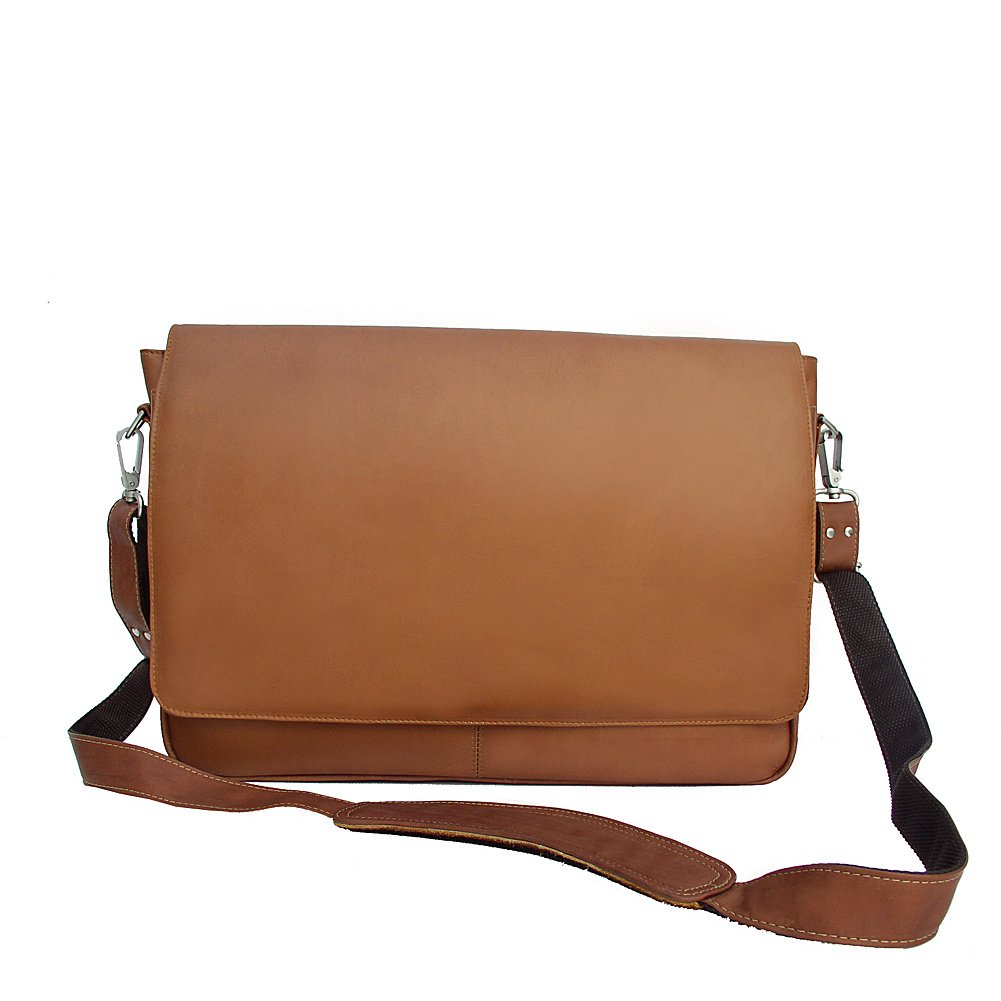 Piel Custom Personalized Leather Entrepeneur Professional Laptop Messenger Bag in Chocolate