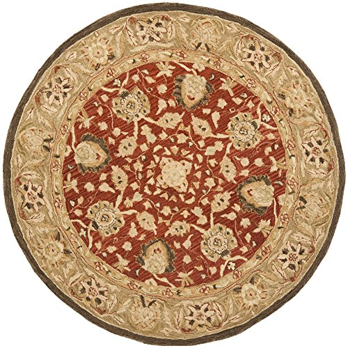 Brown Round Oriental Rug (Safavieh Anatolia Collection AN512G Handmade Traditional Oriental Rust and Green Premium Wool Round Area Rug (6' Diameter))