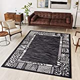 Tapiso Area Rugs Living Room Bedroom Wild Animal Print Safari Modern Pattern Black Durable Carpet Dream Collection Size - 80 x 150 cm (2ft7 x 4ft11)