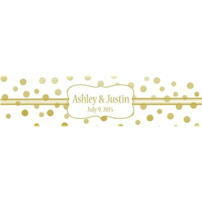 "100 Gold Confetti White Background Wedding Water Bottle Labels Engagement Party 8""x2"""