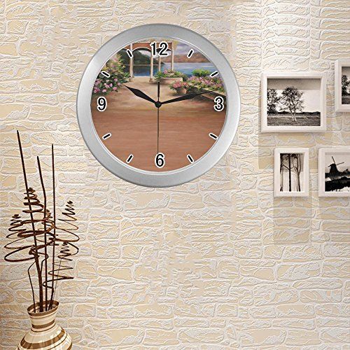 anfGreenqb beautiful paint wallpaper 126 Quartz frame custom Silver Elegant Wall Clock 9.65