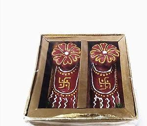 SANCTIFIED Laxmi Charan Paduka l Diwali Decoration l Decorative Goddess Laxmi Charan Statue for Deepawli/Diwali Pujan Indian Festival.Indian Gift Items
