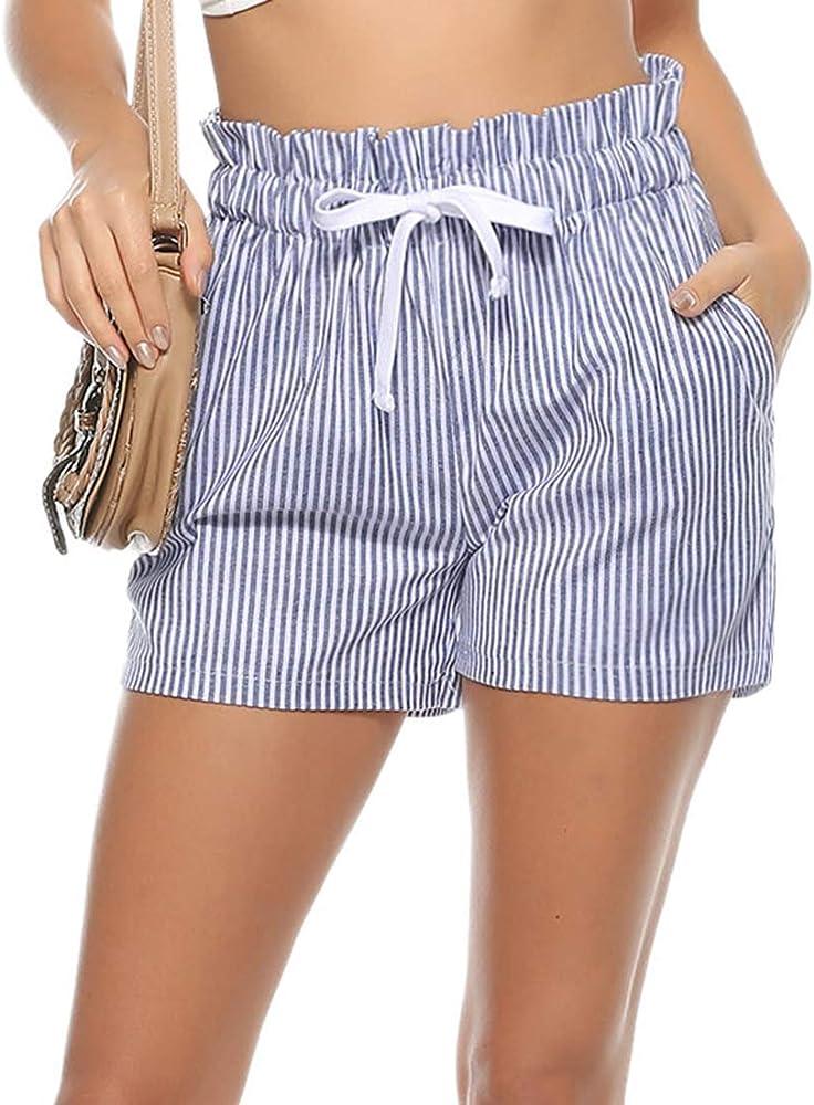 Aibrou Pantalones Corto para Mujer Pantalon de Algodón Verano de Rayas Casual: Amazon.es: Ropa y accesorios
