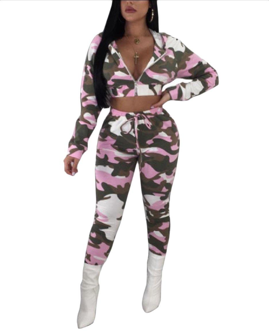 Vska Women Mini Autumn Camouflage Color Hood 2pcs Set Zip-up Tracksuit