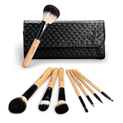 USpicy 8 Pieces Makeup Brushes Wooden Handle Make Up Brush Set Cosmetics Brush Kit with Travel Pouch