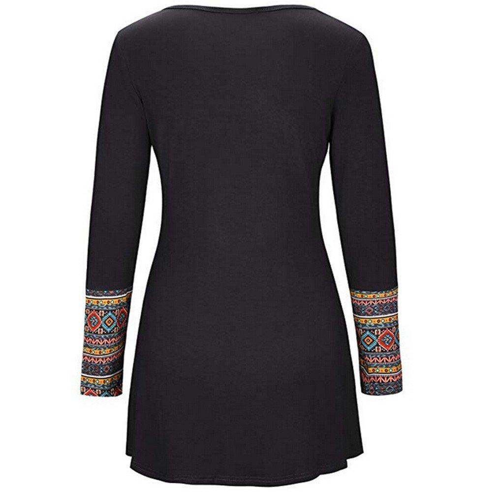 Mujer blusa otoño,Sonnena ❤ Blusa de manga larga para mujer con bolsillo Blusa estampada de patchwork Tops camiseta: Amazon.es: Hogar